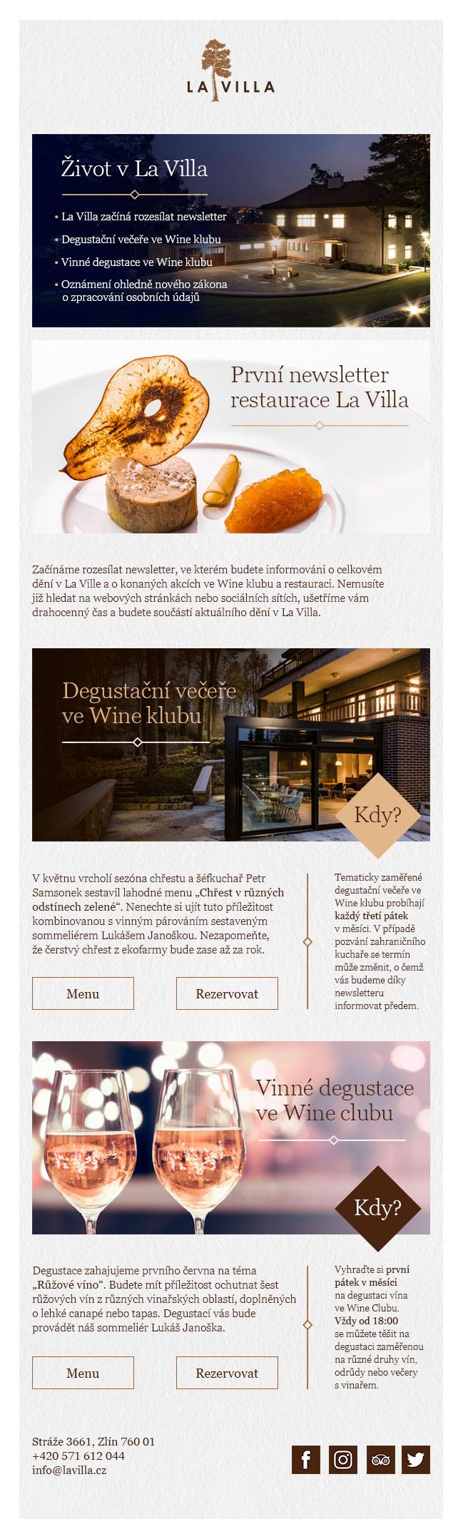 newsletter LA VILLA RESTAURANT