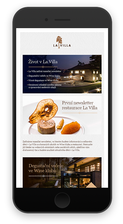 newsletter LA VILLA RESTAURANT